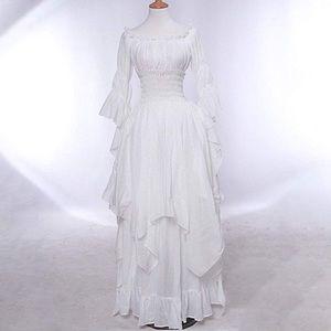 WHITE OFF THE SHOULDER RENAISSANCE WHITE DRESS